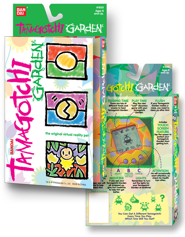 Tamagotchi Garden package and toy design