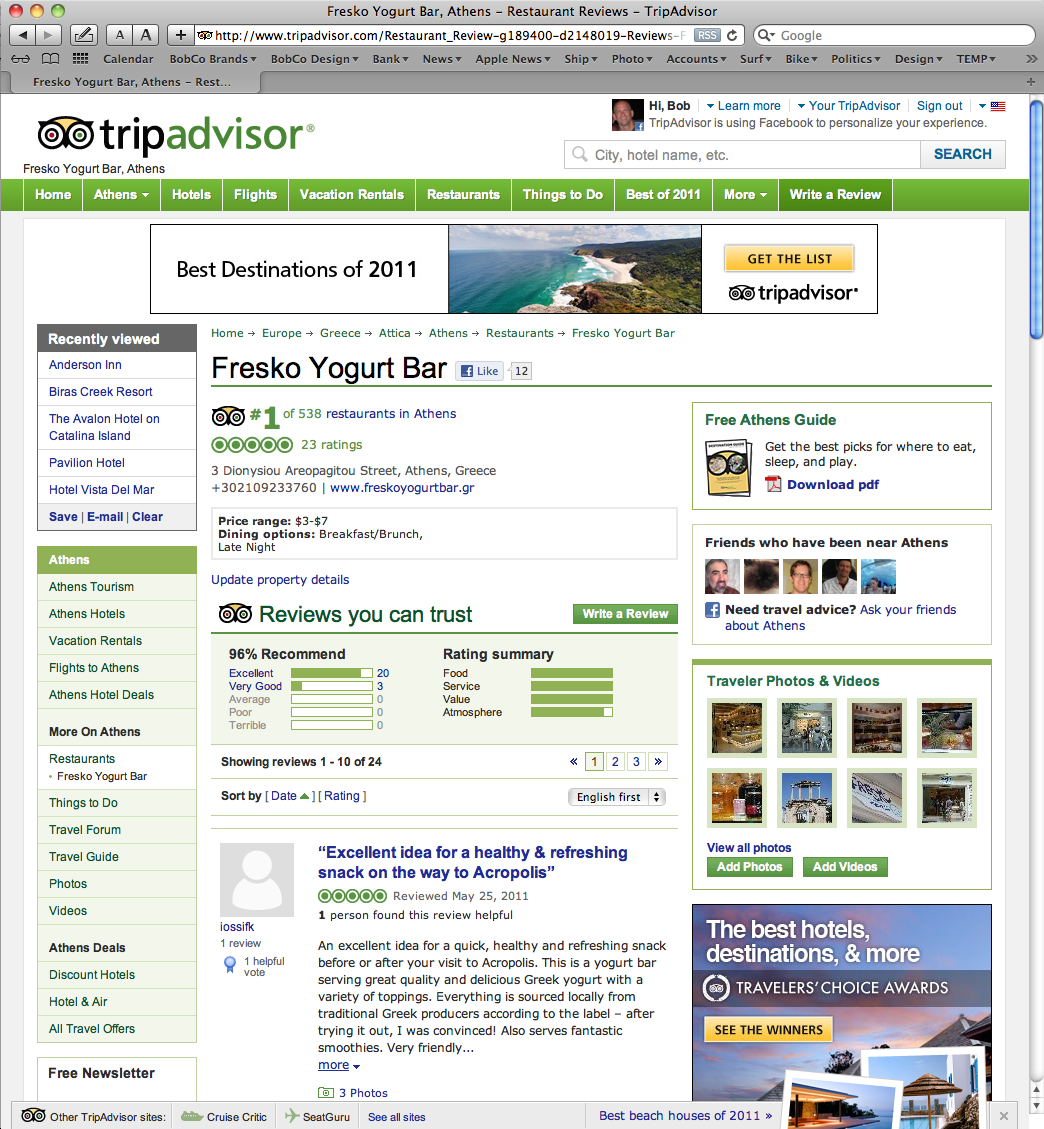 Fresko Rated #1 on TripAdvisor.com!